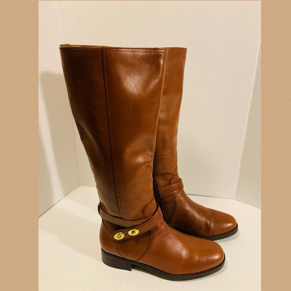Cute Coach British Tan Tall Leather Boots Size 7.5